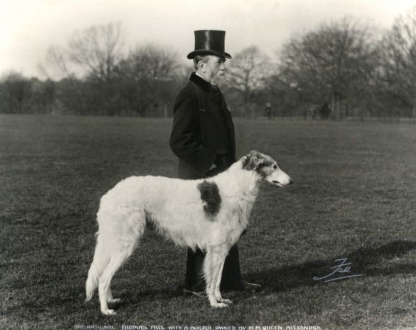 The original Thomas Fall, dog photographer, with a Borzoi owned by H.M. Queen Alexandra. Date: 1893